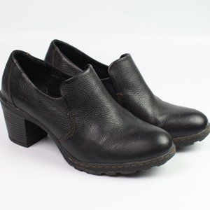 Born Concept black leather clog bootie heel loafer